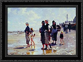 Oyster Gatherers of Cancale 24x18 Black Ornate Wood Framed Canvas Art by John Singer Sargent