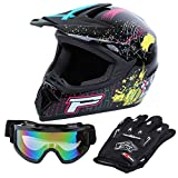 Samger DOT Adulto Offroad Casco Motocross Casco Dirt Bike ATV Motocicleta Casco Guantes Gafas (Negro, S)