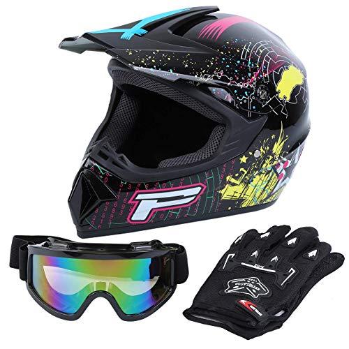 Samger DOT Erwachsene Off Road Helm Motocross Helm Dirt Bike ATV Motorrad Helm Handschuhe Brille (Schwarz, S)