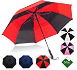Repel Umbrella Golf Umbrella - 60' Vented Double Canopy with Triple Layered Reinforced Fiberglass Ribs and...