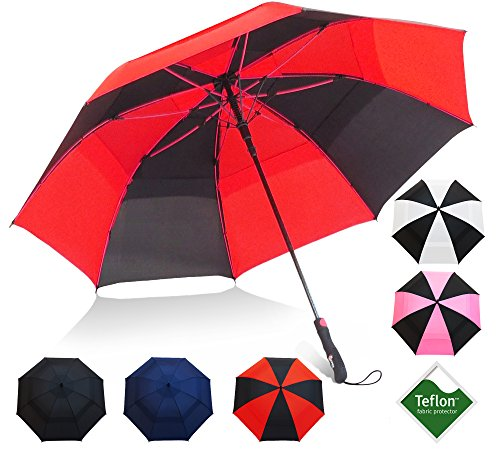 Repel Umbrella Golf Umbrella - 60' Vented Double Canopy with Triple Layered Reinforced Fiberglass Ribs and Teflon Coating, Auto Open (Black Sunset Red)
