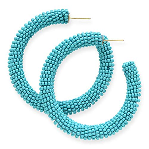 INK+ALLOY Women's Solid Hoop Glass Seed Bead Earrings, Turquoise - 2.5 Inch - Handmade Beaded Boho Style Earrings - In Organza Gift Bag