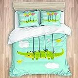 KASMILN Bettwäsche Set,Kindergarten themenorientierte Grafik mit dem Krokodil Fliegen mit Ballon Vögeln und Wolken,1 Bettbezug 240x260cm+2 Kopfkissenbezug 50x80cm