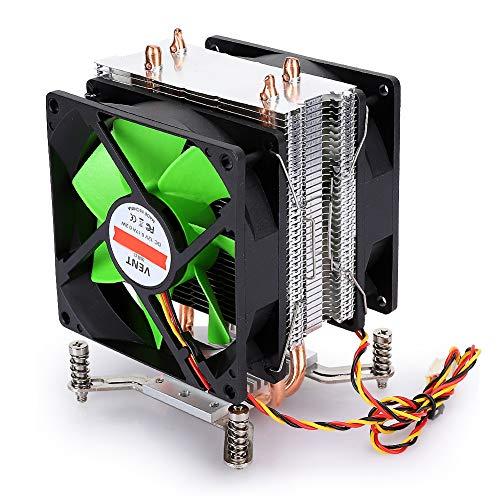 Ventilador de enfriamiento de CPU, Enfriador de CPU de Tubo de Cobre Dual no Ligero de Doble Ventilador de 3 Cables, para AMD / AMD3 / AM4 / FM1 / FM2, 80 x 80 x 25 mm(Verde + Negro)