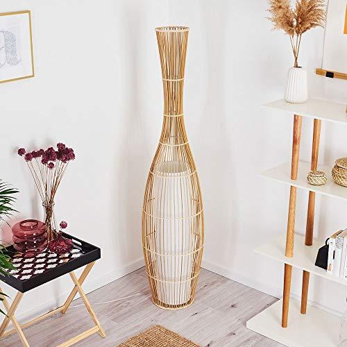 Stehleuchte Saranda, Vintage Bodenleuchte aus Bambus/Stoff in Natur/Weiß, Ø 24,5 cm, E27-Fassung, max. 60 Watt, Stehlampe im Boho-Style mit Fußschalter am Kabel, LED geeignet