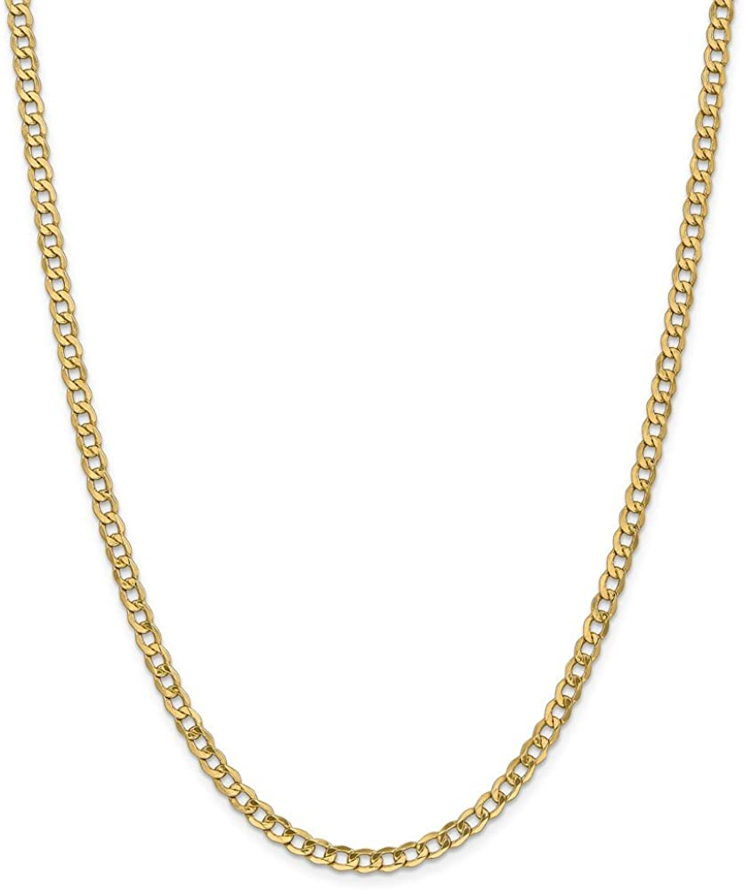 14k Yellow Gold 4.3mm Semi Solid Link Curb Chain Necklace, 18