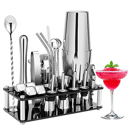 Cocktail Shaker Set, 23-Piece Boston Stainless Steel Bartender Kit with Acrylic Stand & Cocktail Recipes Booklet, Professional Bar Tools for Drink Mixing, Home, Bar, Party (Include 4 Whiskey Stones)