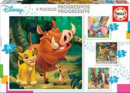 Educa Borras - 4 Progressive Puzzless Disney Animals, Dumbo+Bambi+Lion King + Jungle Book Puzzel (18104)