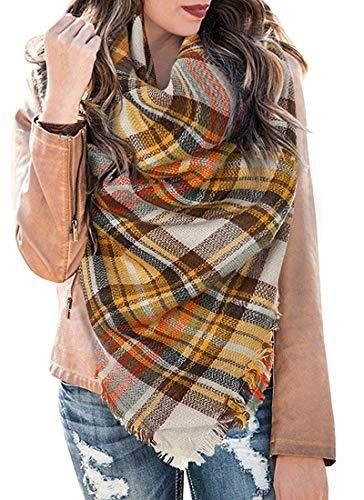 LYworld XXL Damen Schal Kariert übergroßer quadratisch Deckenschal Karo Tartan Streifen Plaid Muster Oversized Fransen Poncho