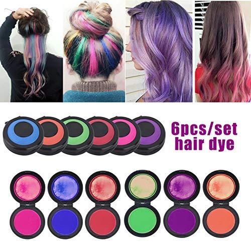 Dusial Hair Dye Set Temporary 6 Colors Reusable Portable Fast Hair Chalk Set Hair Chalk Christmas Birthday Party Cosplay Supplies