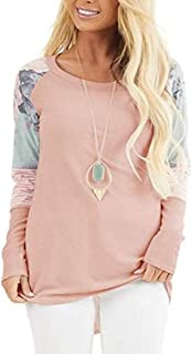 S-Fly Womens O Neck Casual Long Sleeve High Low Color Block Loose T-shirt