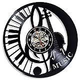 FDGFDG Reloj de Pared de Disco de Vinilo diseño Moderno Sala de Estar Tema Musical Reloj Instrumento Musical Piano Guitarra Tambor Reloj de Pared decoración del hogar