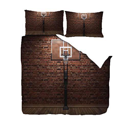 WPHRL Bettwäsche Bettbezug Set Basketballkorb 3 Teilig Bettgarnitur Bettwäsche Set Gemütlich 100% Mikrofaser mit Reißverschluss 1 Bettbezug 220x240cm + 2 Kissenbezug