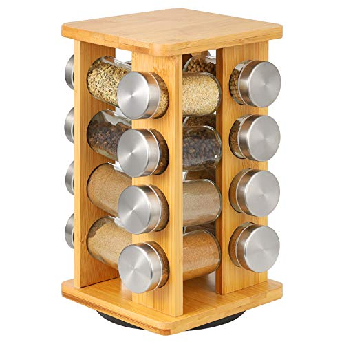 Soporte para especias con 16 tarros de especias, giratorio 360°, de bambú, para armarios de cocina y encimeras, para especias, especias, de cristal, para especias de pie, con recipientes para especias