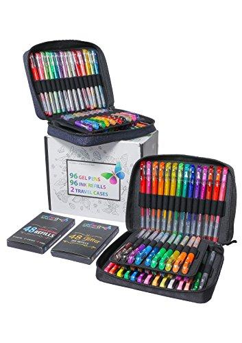 ColorIt ゲルペン 大人用塗り絵用 - トラベルケースゲルペンセット2本 グリッター72本 メタリック12本 ネオン12本 お揃いのカラーゲルインク詰め替え96本