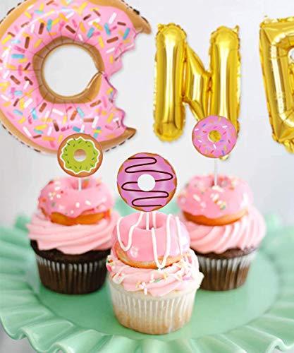REYOK 61 Piezas Fiesta Decoración Postre Globos cumpleaños Supplies Pink, Birthday Party Decorations Kit Donut Helado Candyland, Girls Kids Fiesta de cumpleaños Baby Shower Globos Deco Party
