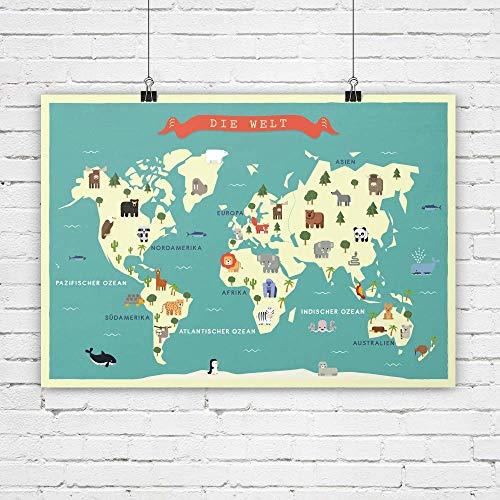 Weltkarte, Kinderzimmer Bild, Karte, Poster, Tiere, Bild, Kinderzimmer Deko, Bild für Kinder, Kunstdruck, Bild für Kinderzimmer, Karte mit Tieren