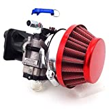 TC-Motor 15mm Carburetor Carb Red Air Filter Manifold Inatake Pipe Inlet Alloy Stack Kit For 2 Stroke 33cc 43cc 49cc 50cc 52cc Engine Goped EVO Gas Scooter Cat Eye Pocket Bike