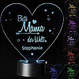 Personalisierte LED Motivlampe • Beste Mama der Welt • dekorative 3D Leuchte in verschiedenen Farben   Geschenkidee für Mutter Mama Geschenk zu Geburtstag Weihnachten Muttertag (Mutter)