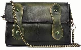 Women's New Retro Shoulder Messenger Bag Simple Handmade Mini Chain Bag Candys house (Color : Green)