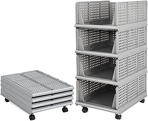 Bossjoy 4er Set stapelbarer Schrank-Aufbewahrungsbox-Organizer (einfach zu öffnen und zu Falten), Kunststoff-Garderoben-Schrank-Organizer-Box für Zuhause, Schlafzimmer, Küche, Grau