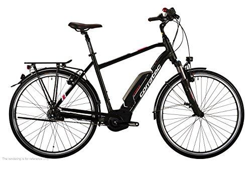 Corratec Herren E-Power 28 Urban Active 8s Coaster Gent Fahrrad, Schwarz matt/Silber/Dunkel Rot, 54