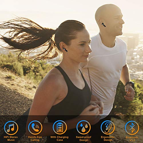 Wireless Earbuds,Bluetooth Earbuds Wireless Earphones Stereo Wireless Earbuds with Microphone/Charging Case Bluetooth in Ear Earphones Sports Earpieces Compatible iOS Samsung Android Phones Black 5