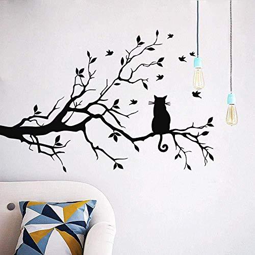 Etiqueta de la pared vinilo extraíble etiqueta de la pared gato en las ramas sala de estar sofá fondo dormitorio arte calcomanía 28 cm * 38 cm