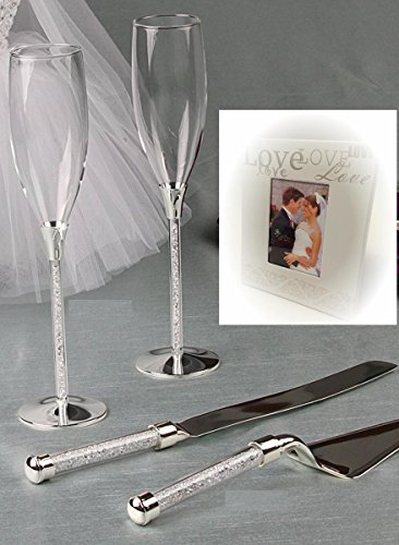 Wedding Toasting Flutes and Cake Knife Server Set Crystal Stones Filled Stemmed with Love Mini Favor Frame