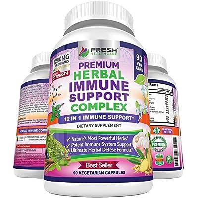 Immune Support Herbal Supplement - 12 in 1 Daily Immune Defense Booster - Garlic, Ginger, Elderberry, Holy Basil, Green Tea Extract, Milk Thistle, Mushroom & Panax Ginseng - 90 Vegan Capsules Pills by FRESH HEALTHCARE