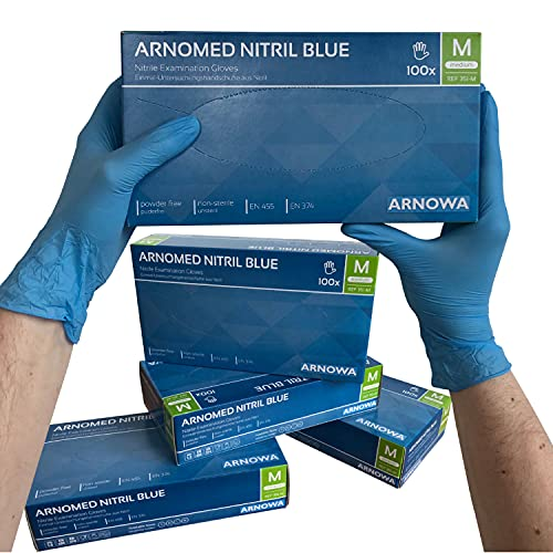 ARNOMED Nitril Einweghandschuhe M, puderfrei, latexfrei, 100 Stück/Box, Einmalhandschuhe, Blaue Nitrilhandschuhe, in Gr. S, M, L & XL verfügbar