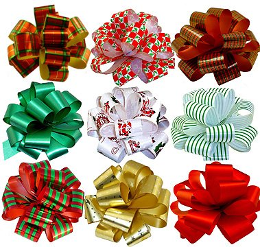 """Christmas Gift Pull Bows - 5"""" Wide, Set of 9, Red, Green, Gold, Stripes, Swirls, Gift Bows, Christmas Presents, Birthday, Boxing Day, Hanukkah, Wreath, Swag, Christmas Tree, Fundraiser"""