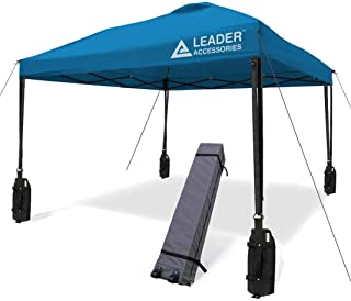 Leader Accessories 10' x 10' Instant Canopy with 4-Pack Canopy Weights & One Wheeled Carry Bag