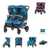 Chipolino Geschwisterkinderwagen Passo Doble klappbar, 73 cm breit, Fußsack, Farbe:blau Sterne