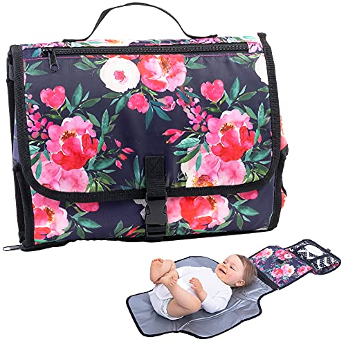 Bliss N Baby Portable Diaper Changing Pad for Parents - Perfect Travel Diaper Changing Mat with Wet Wipe Pouch, Storage Space, Thick Foam Padded Comfort & Waterproof Changing Station