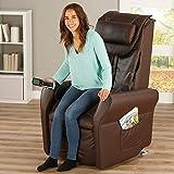 maxVitalis Massagesessel, Fernsehsessel mit Wärmefunktion, Shiatsu-Massage, Elektrische Aufstehfunktion, 5 Massagezonen, intelligenter Körperscan, praktisches Seitenfach (Braun) - 2