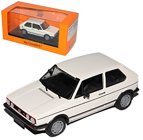 Volkwagen Golf I GTI 3 Türer Weiss 1974-1983 1/43 Minichamps Maxichamps Modell Auto mit individiuellem Wunschkennzeichen
