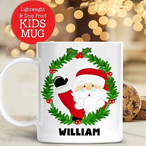 Kids Personalized Santa Claus Christmas Mug with Name Unbreakable Child's Cup | Dishwasher Safe | BPA Free