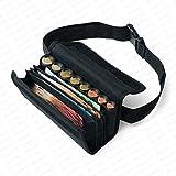 Borsa da Cameriere - Portafoglio di cameriere incl. 8 scomparti cambiamonete euro con laccio – misure della borsa 20,5 x 6,5 cm x 10,0 cm - Securina24® (black)