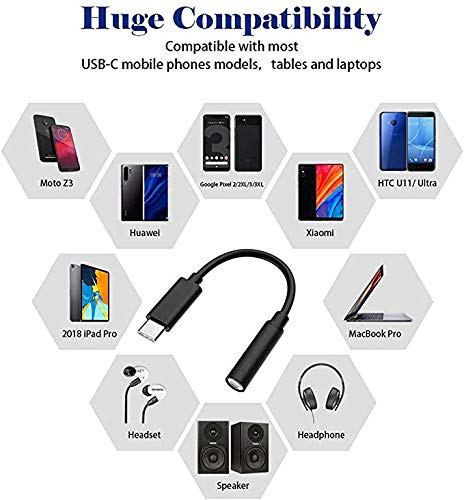 [3-Pack][Black]Type-C (USB-C) 3.5mm Audio Headphone Adapter, 3.5mm Audio Jack AUX Adapter for Type C Devices Compatible with Huawei Mate 20 Pro/ P20 Pro, Moto Z, Xiaomi Mi 8, Oneplus 6t
