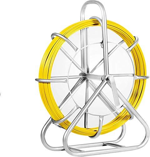 VEVOR Sonda Passacavi 6MMX130M, Canna da Pesca per Bacchette Nastro in Fibra di Vetro Continua, Infila Cavo Elettrico Estrattore in Esecuzione Estrattore a Fune Filo Retrattile