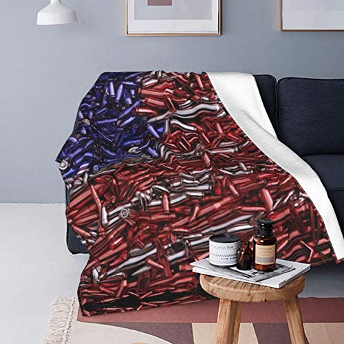 Sggual National Flag Formed Bullet 3D Gun Blanket Colorful and Full Color No Fading Breathable and Lightweight Print Clear Tight Stitching Super Soft Cartoon Throws Blankets,50 X 60 Inch
