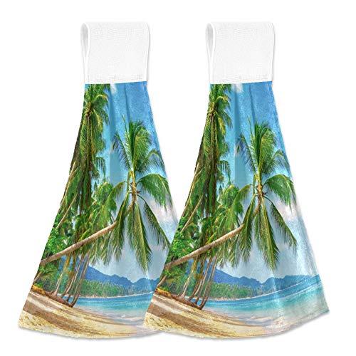 Oarencol Toalla de mano de playa tropical con palmera absorbente para baño, 2 unidades