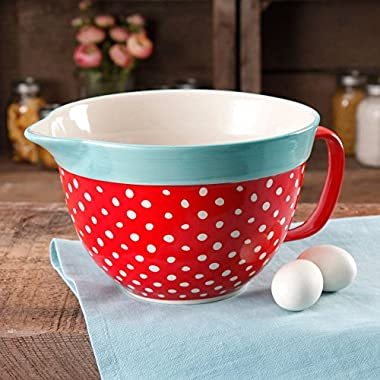 The Stylish And Unique Pioneer Woman Flea Market 2.83-Quart Batter Bowl with Decal, Red Polkadot