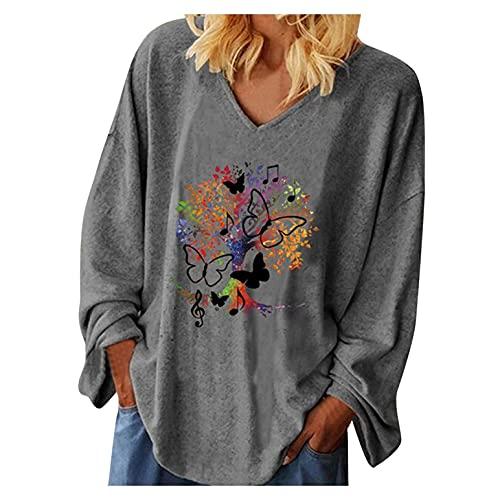 SHOBDW Liquidación Venta Camiseta Mujer Retro Clásico Floral Tops Color Suelto Moda Mujer Pullover Tops Suelto Casual Tops Talla Grande Otoño(Gris,S)