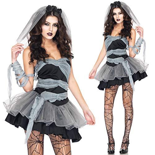 GBYAY Disfraces de Novia Fantasma de Fiesta de Halloween para Mujeres Adultas...