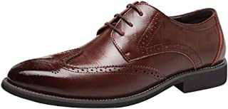Aiweijia Men's Leather Shoes Oxford Retro Leisure Bullock Carving Classic Modern Pointed Business lace-up Shoes