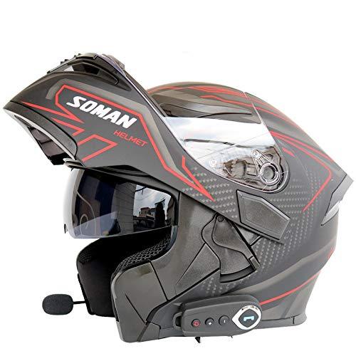 LOOSE Cascos De Motocicleta Integrados Bluetooth, Cara Completa Flip Up Dual Visors Modular Motorcross Helmets Micrófono De Auriculares De Altavoz Incorporado,Rojo,XXL