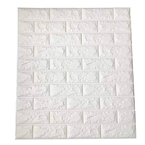 Art3d 6.5 Sq.m Pannelli da parete 3D a buccia e bastone per decorazioni da parete interna, carta da parati in mattoni bianchi 77 x 70 cm (confezione da 12)