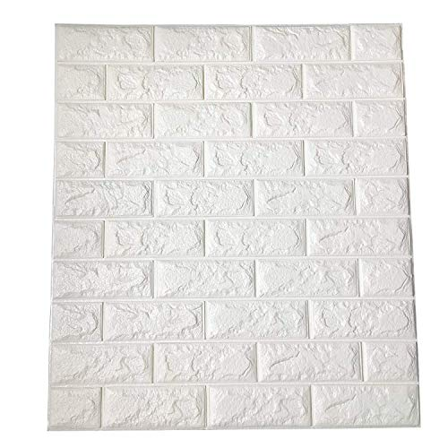 Art3d 3.2 Sq.m Peel and Stick 3D Wall Panels for Interior Wall Decor, White Brick Wallpaper(6-Pack)